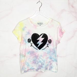 Wildfox Tie Dye Heart Lightning Rose Tee